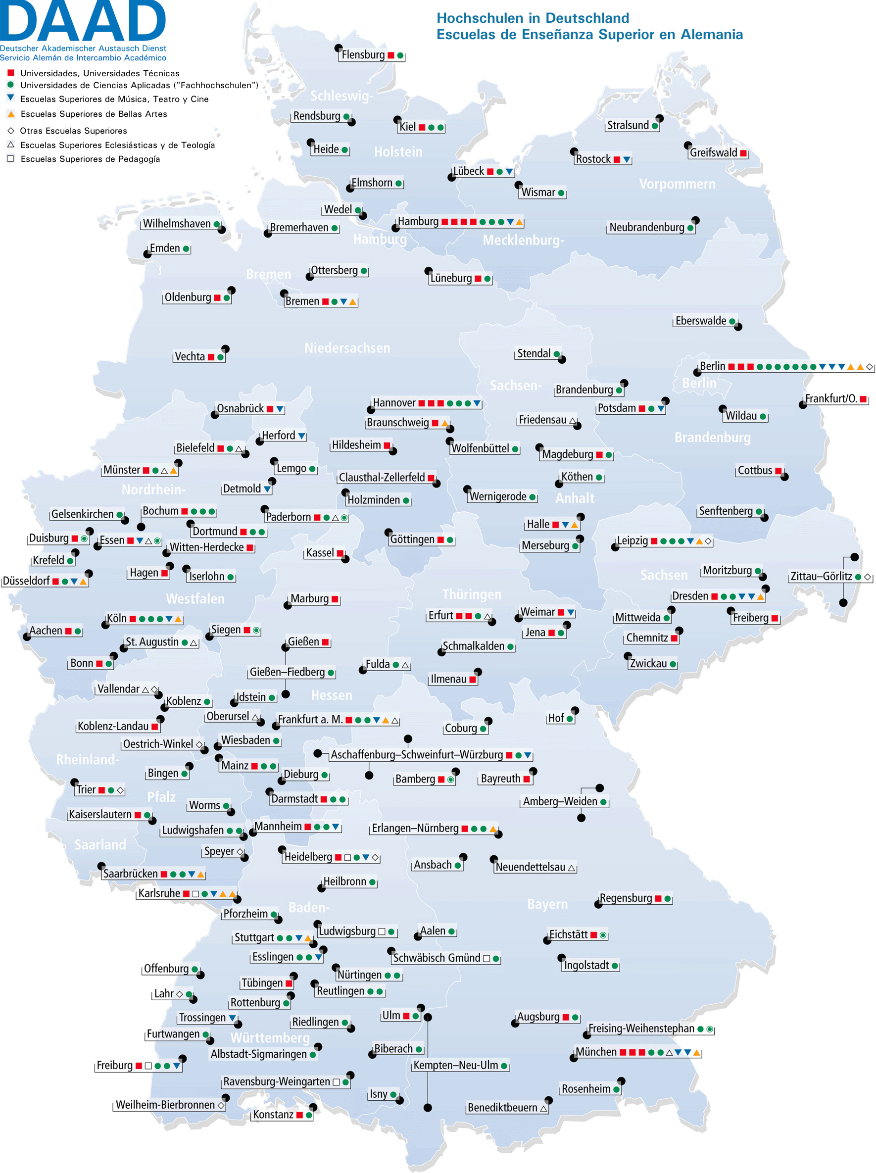 universit ten deutschland karte